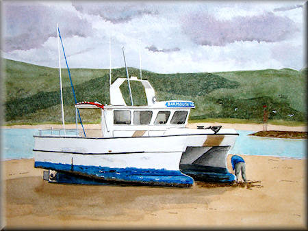 Barmouth Viking II - watercolour painting by John W. Johnston