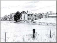 Barn in a Field - a pencil drawing