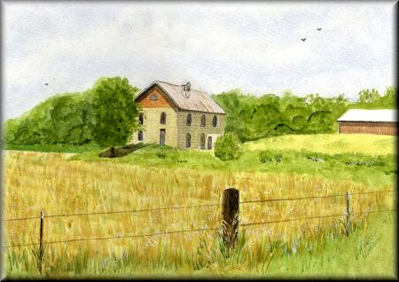 Barn in Field - a watercolour painting by John W. Johnston