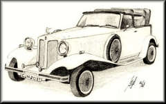 a pencil drawing of a 1930 Beauford Convertible