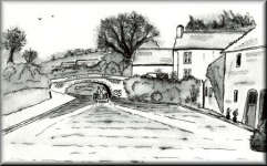 a pen drawing of Cottages by a canal