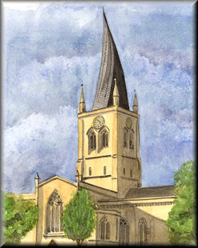 A watercolour painting of a church with a Crooked Spire