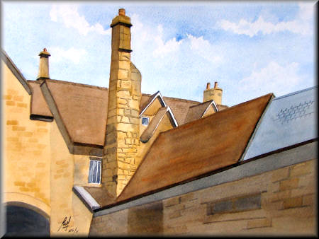 Chimney - A watercolour painting by John W Johnston