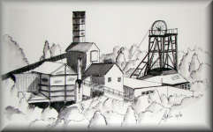 a pen drawing of The National Coal Mining Museum