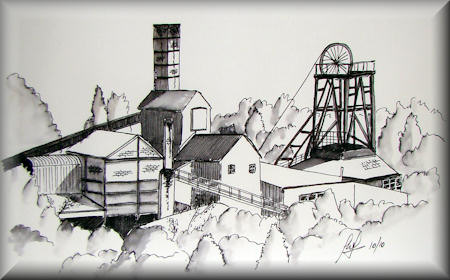 National Coal Mining Museum - a pen drawing painting by John W. Johnston