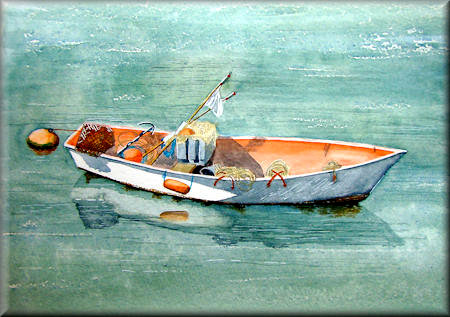 Fishing Boat - a watercolour painting by John W. Johnston