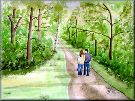 A watercolour painting of a couple walking in a forest