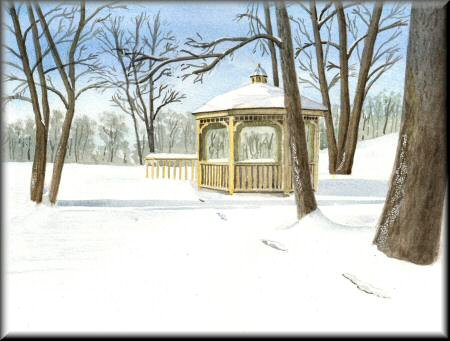 A watercolour painting of a gazebo in the snow