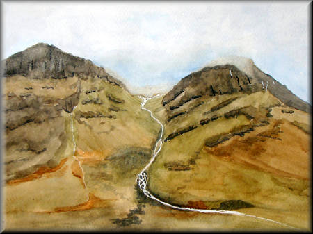 Glencoe - a watercolour painting by John W. Johnston