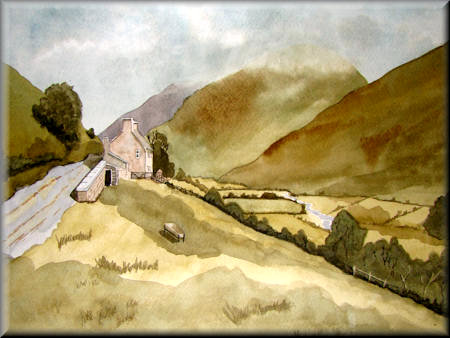 Hillside Cottage - A watercolour painting by John W Johnston