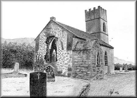 window pencil drawing. irish church - a pencil drawing by john w johnston window