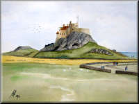 Lindisfarne Castle - a watercolour painting by John W. Johnston