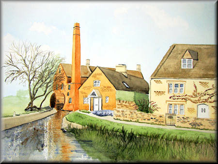 Watermill, Lower Slaughter - watercolour painting by John W. Johnston
