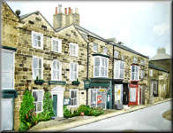 Watercolour painting of the High Street, Pateley Bridge