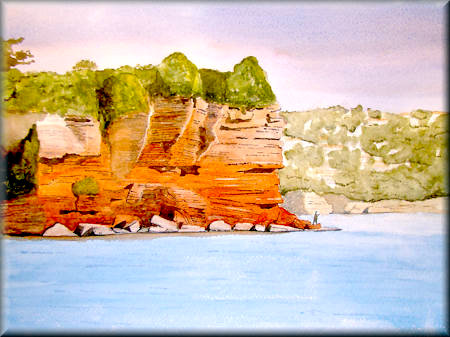 A watercolour painting of the red cliffs at Babbacombe