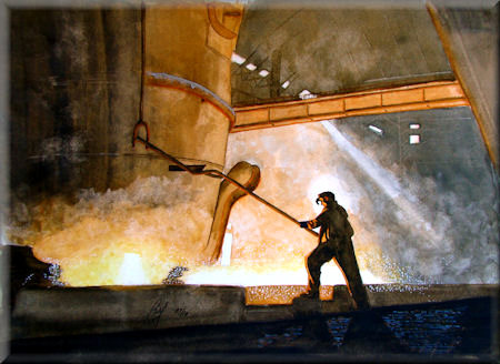 A watercolour painting of a man in a steel works