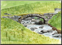 Watercolour painting of a Stone Bridge