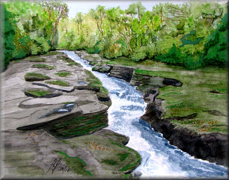 The Strid - a watercolour painting by John W. Johnston