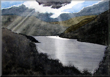 A watercolour painting of the sun setting over Buttermere Lake