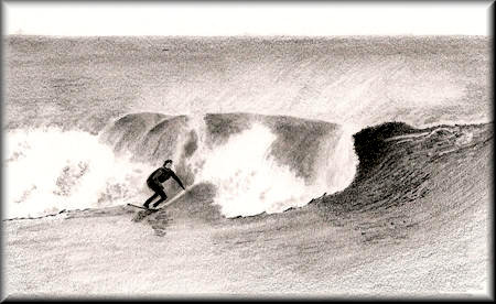 Surfer - a pencil drawing by John W. Johnston