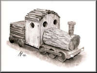 a pencil drawing of a Train Planter