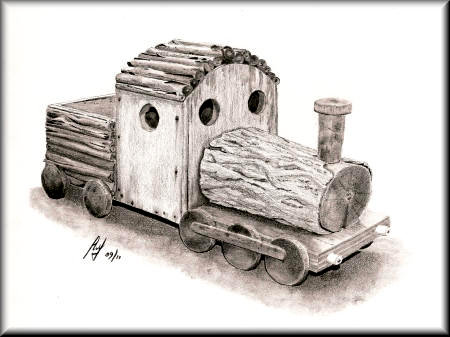 Train Planter - a pencil drawing by John W Johnston