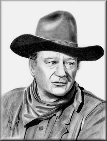 John Wayne - a pencil drawing by John W Johnston