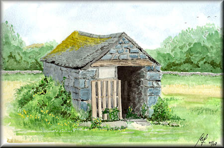 Welsh Barn - a watercolour painting by John W. Johnston