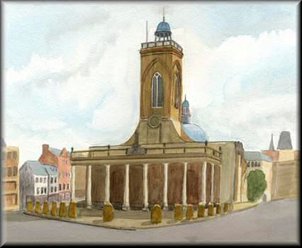 All Saints Church, Northampton - A watercolour painting by John W Johnston