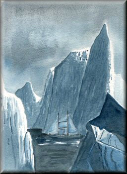 Arctic Night - a watercolour painting by John W. Johnston