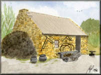 a watercolour painting of an old Blacksmiths cottage