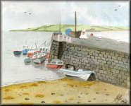 A watercolour painting of Boats at Harbour Wall