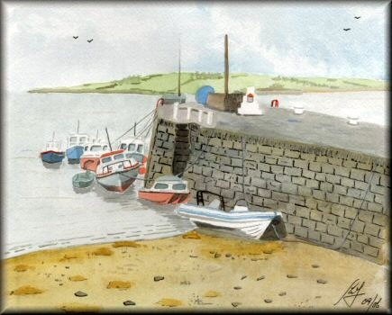 Boats at Harbour Wall - A watercolour painting by John W Johnston