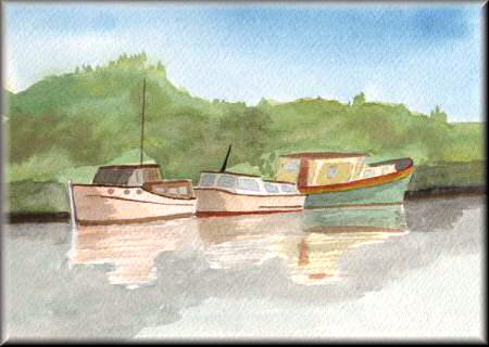 Boats on a River - A watercolour painting by John W Johnston