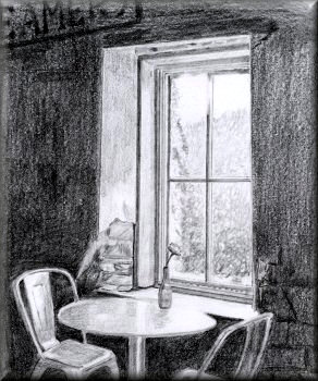 Contrast - A pencil drawing by John W Johnston
