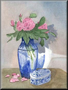A watercolour painting of a vase of flowers