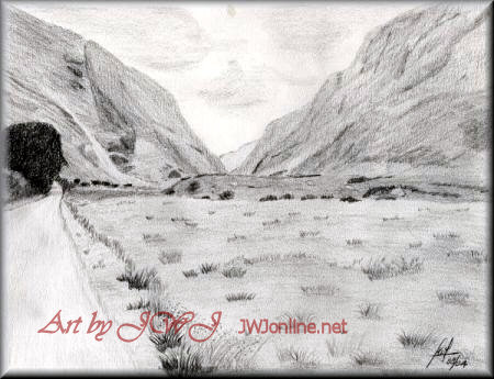 The Gap of Dunloe - A pencil drawing by John W Johnston