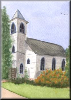 Church, Grantsville - A watercolour painting by John W Johnston