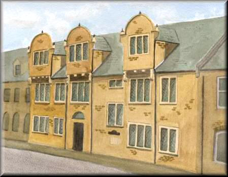 Hazelrigg House, Northampton - A watercolour painting by John W Johnston