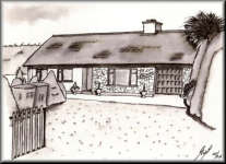 a Pen drawing of an Irish Bungalow