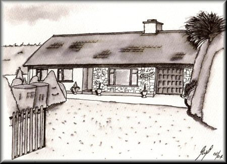 A Pen & Wash monochrome painting of a bungalow in Ireland