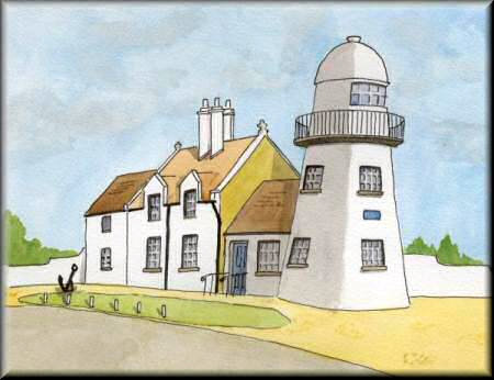 A Pen & Wash painting of a lighthouse