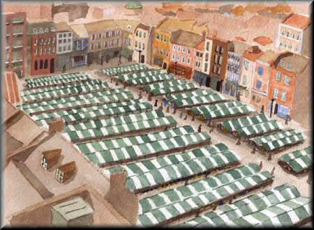 The Market Square, Northampton - A watercolour painting by John W Johnston