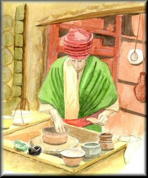 Potter at his Wheel - a watercolour painting by John W. Johnston
