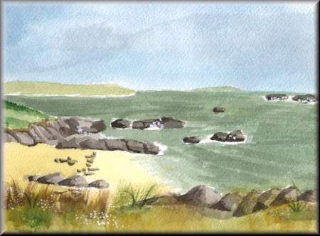 Rocks on the Beach - A watercolour painting by John W Johnston