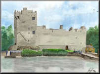 a watercolour painting of Ross Castle