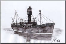 a pen drawing of SPURN Lightship