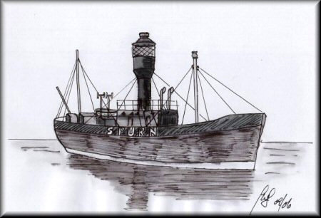 A Pen & Wash monochrome painting of the SPURN lightship