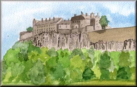 Stirling Castle - a watercolour painting by John W. Johnston