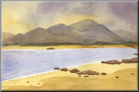Stormy Beach - A watercolour painting by John W Johnston